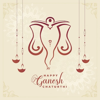 Traditional happy ganesh chaturthi festival celebration background