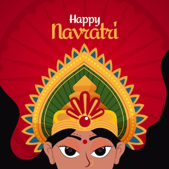 Traditional happynavratri festival Premium Vector