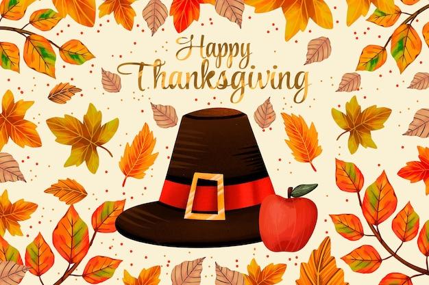 Традиционная шляпа и яблоко акварель фон благодарения