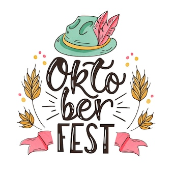 Traditional hat and lettering oktoberfest