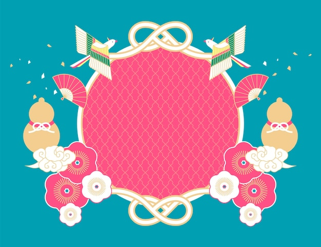 Traditional holiday background with gourd, bird and flower elements