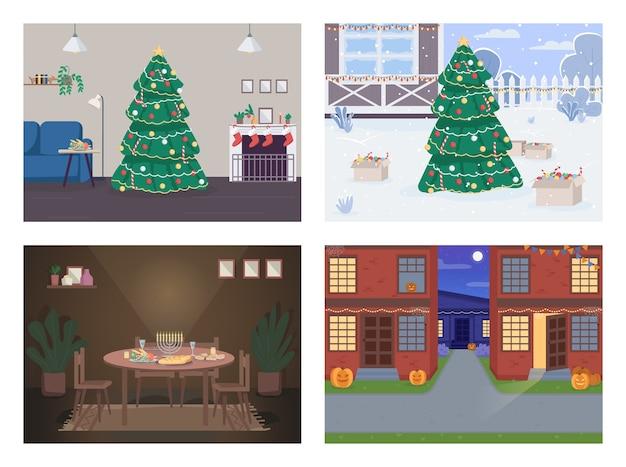 전통적인 휴가 평면 색상 세트. 하누카 축하 테이블. 크리스마스 트리. 배경 컬렉션에 인테리어와 풍경 공휴일 2d 만화 인테리어