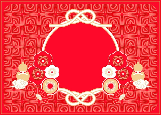 Traditional holiday red background with gourd, flower and knots elements