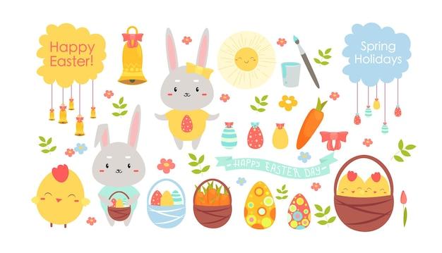 伝統的な休日のシンボル、サイン、写真ハッピーイースター、バニー、卵、花、ウサギ、バスケット