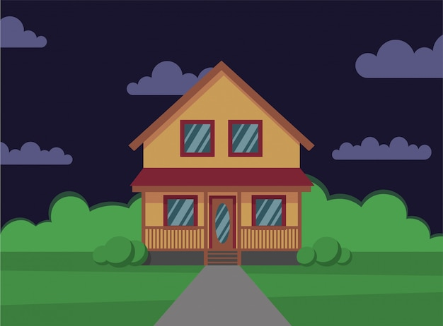 Traditional house. family home. night. flat design   concept illustration. - stock   the flat style.