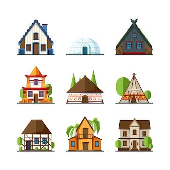 伝統的な家。インドのアジアの田舎の建物ヨーロッパとアフリカの建築物は平らな家をベクトルします。イグルーのファサードの建物、町のイラストの別の家をモデル化