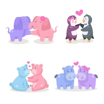 Traditional illustrated animal couples for valentine's day
