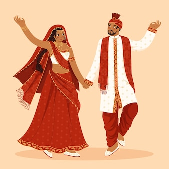 Traditional indian clothes with woman and man