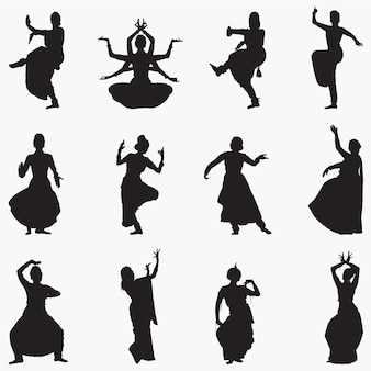 Traditional indian dance silhouettes
