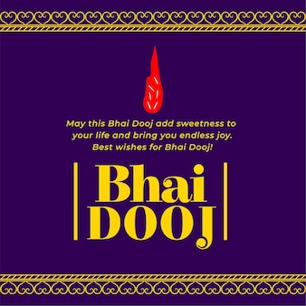 Traditional indian festival bhai dooj greeting card wishes