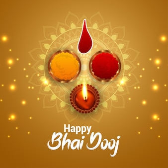Traditional indian festival celebration greeting card with creative   illustration of bhai dooj