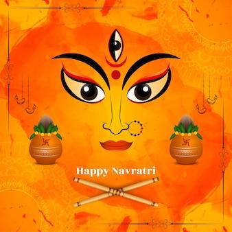 Традиционный индийский фестиваль happy navratri приветствие фон вектор