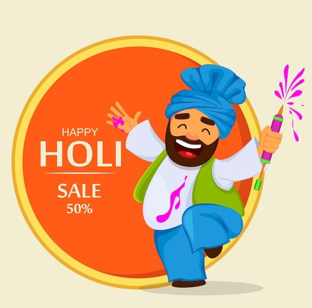 面白い踊る男と伝統的なインドのお祭りホーリー