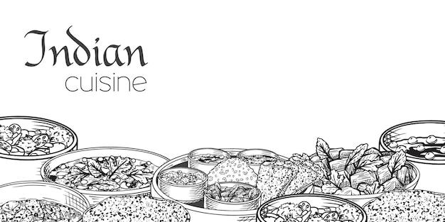 白い背景の上の伝統的なインド料理。