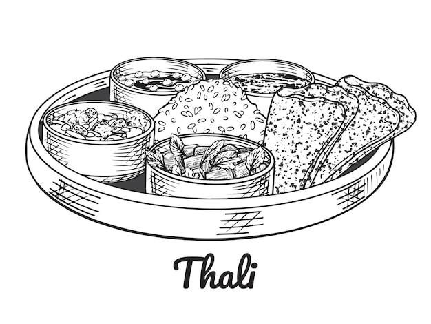 伝統的なインド料理。ターリー。手描きの線画。図。白で隔離。
