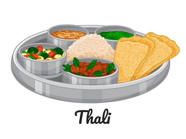 伝統的なインド料理。ターリー。図。白で隔離。いたずら書き。漫画のスタイル。