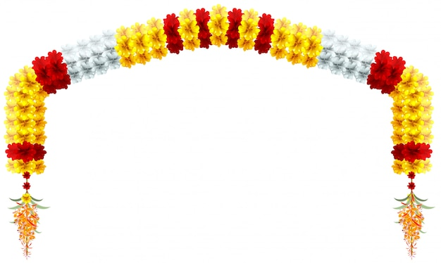 Traditional indian mala flower garland. festive holiday arch flower decoration