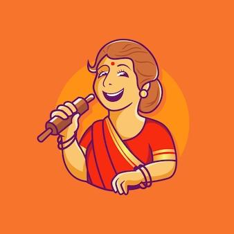 Традиционная индийская мать готовит шеф-повар вектор