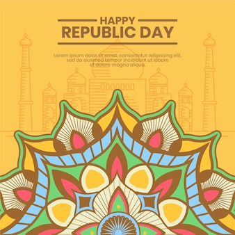 Traditional indian motifs of republic day