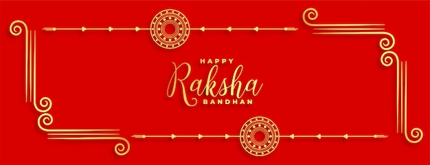 Traditional indian raksha bandhan festival red banner
