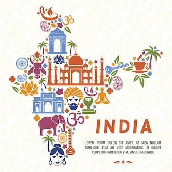 インドの地図テンプレートの形で伝統的なインドのシンボル