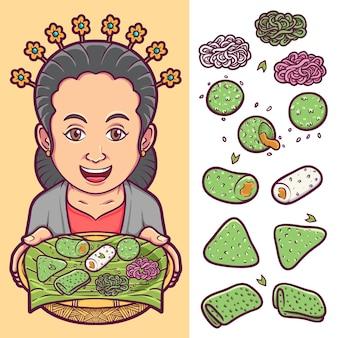 Традиционный индонезийский набор блюд со счастливым женским персонажем