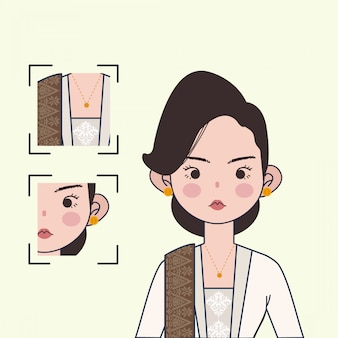 Traditional indonesian kebaya illustration. cute indonesian girl vector illustration with traditional textile