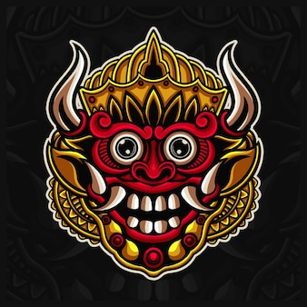 인도네시아 전통 마스크 바롱 로고 디자인 삽화, 발리 마스크 손으로 그린 스타일
