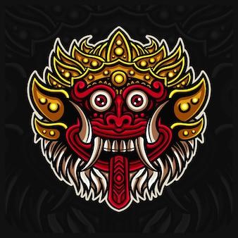 인도네시아 전통 마스크 바롱 마스코트 esport 로고 디자인 삽화, 발리 마스크