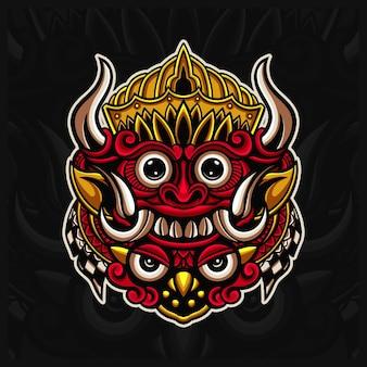 인도네시아 전통 마스크 바롱 마스코트 로고 삽화, 발리 마스크 손으로 그린 스타일 프리미엄 벡터