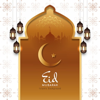 Traditional islamic eid mubarak festival card