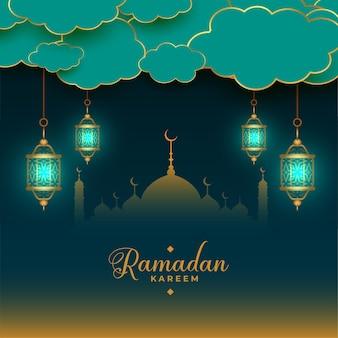 Traditional islamic ramadan kareem card design with hanging lanterns