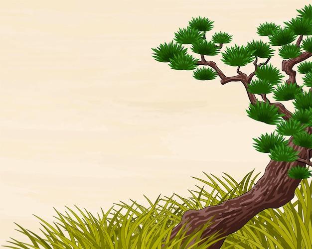 草と伝統的な日本の松の木の風景