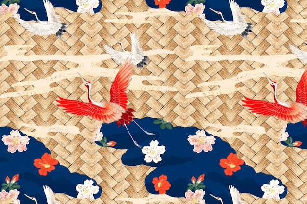 Traditional japanese bamboo weave with crane pattern, remix of artwork by watanabe seitei