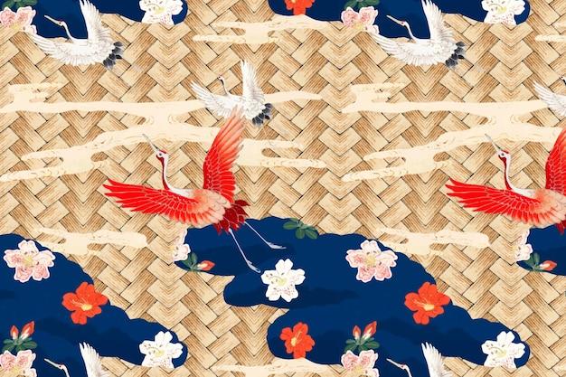 渡辺省亭によるアートワークのリミックス、鶴模様の日本の伝統的な竹織り