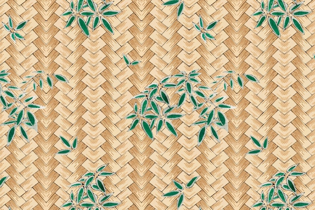 Traditional japanese bamboo weave with leaves pattern, remix of artwork by watanabe seitei
