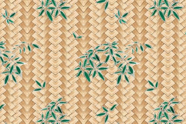渡辺省亭によるアートワークのリミックス、葉模様の日本の伝統的な竹織り