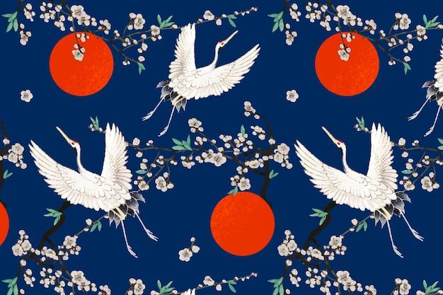 伝統的なタンチョウと梅の花、渡辺省亭のアートワークのリミックス