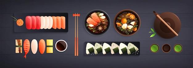 수평으로 볼 수 있는 전통적인 일본 음식 요리 평면 구성