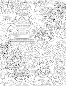Traditional japanese house beside a lake with swans and trees colorless line drawing old asian