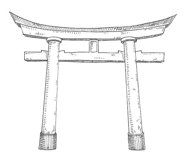 伝統的な日本の鳥居。ヴィンテージハッチングモノクロ黒イラスト