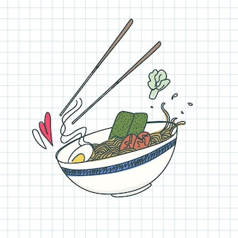 Traditional japanese ramen noodles doodle