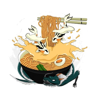 Traditional japanese ramen and wave for tshirt design