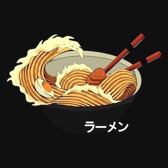 Traditional japanese ramen and wave for tshirt