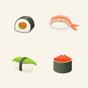 伝統的な日本の寿司とロール。アジアのシーフード、レストランのおいしいイラスト。