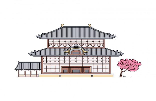 Традиционный японский буддийский храм todaiji с деревом сакуры