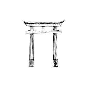 Traditional japanese torii gate vintage vector hatching black illustration isolated on white