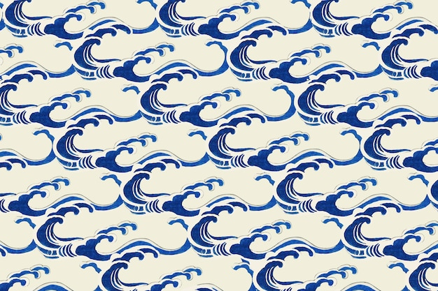 Traditional japanese wave pattern, remix of artwork by watanabe seitei