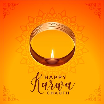 Traditional karwa chauth greeting with sieve and diya