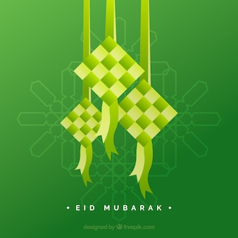 Traditional ketupat composition with flat design